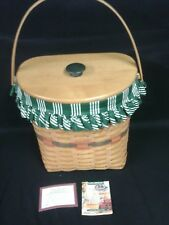 Longaberger 1998 Holiday Hostess Winter Wishes Basket Combo w Lid Green Stripe