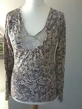 FAT FACE UK10 top grey cream floral grey embroidery long sleeve