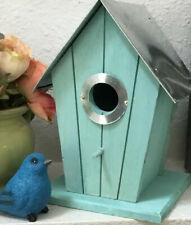Wood Bird House Standing Garden Birdhouse Nest Outdoor Indoor Metal Rustic Decor