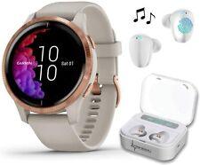 Garmin Venu Light Sand Rose Gold GPS Smartwatch with White EarBuds Bundle