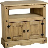 Corona Mexican Pine Corner TV Unit Stand Solid Wooden Rustic Cabinet