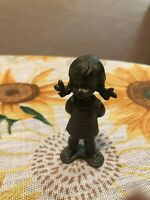 "Vintage Young Girl Figurine L.L. PEWTER 3.25"" Tall"