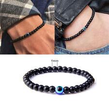 Men Boys Black Bangle Bracelets Evil eye Polish Stones Beads handmade Bracelet
