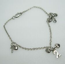 Baby Child's Diamond Sterling Silver Charm Bracelet 1 2 3 Charms & Puffy Hearts
