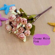 Decor Party DIY Faux Silk Fake Flowers Mini Rose Artificial 15 Head