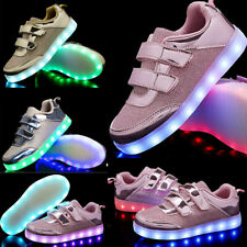 New 7 Colors Light Up LED Shoes For Kids Girls Or Boys Flashing USB Rechargeable