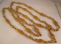 "Vintage 1960's Gold Tone Long Link Beaded Chain Necklace 42"" Costume Jewelry"