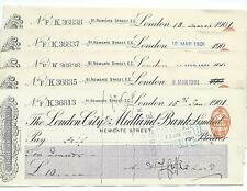 wbc. - CHEQUE FORM - CH39- USED -1900s - LONDON CITY & MIDLAND, NEWGATE ST 5 x 2