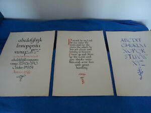 3 Original Vintage art school samples caligraphy black red blue ink 1934 prayer