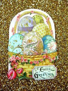 PUNCH STUDIO Easter Basket of Easter Eggs Gold Foil Embellished Greeting Card