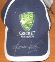 Shane Warne (Australia) signed Cricket Australia Blue Cap - Full Autograph + COA
