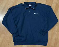 Vintage Mens 90's Navy Blue RUSSELL Reverse Weave Spellout 1/4 Zip Up Sweater XL