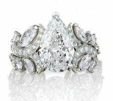 Certified 7.50 Ct White Pear Cut Diamond Engagement-Wedding 14K White Gold Ring