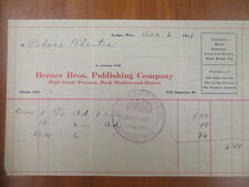 Vintage movie letterhead Berner Bros publishing co Antigo advertising 12-6-1911