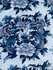 Vintage Ralph Lauren 100% Cotton Nanking Blue Dragon FULL Flat Sheet Blue White
