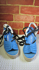 Juicy Couture Blue & Black Canvas Wedge Sandals SZ 8.5   308