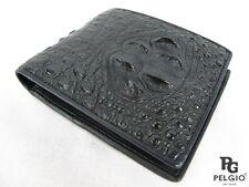 PELGIO Genuine Crocodile Alligator Head Bump Skin Leather Bifold Wallet Black