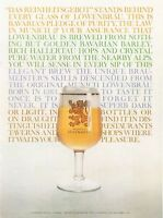 1961 Lowenbrau PRINT AD features Munich Beer Vintage Glass Fun Colorful Frame it