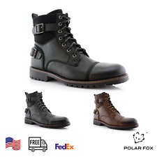 Men's Motorcycle Casual Boots Riding Hiking Waterproof Buckle Synthetic Leather