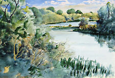 ANNA STEWART ROOT FROST, Listed California, watercolor, Spring on the Riverbank