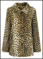 MISS SELFRIDGE SIZE 10-12 FAUX FUR LEOPARD ANIMAL PRINT WOMENS JACKET LADY COAT