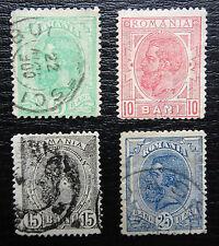 Rumanía mié 113-116, SC 121+123+125+127, Karl I, con sello, grado de calidad II