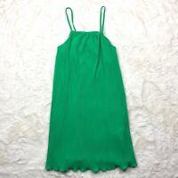 Zara Womens Dress Size M Green Micro Pleated Spaghetti Strap Stretch Lightweight