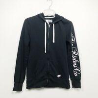 Fox Racing Full Zip Hoodie Sweatshirt Black Long Sleeve Rider Womens Size Medium