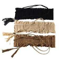Victorian waistbelt Vintage Fringe Wide Suede Elastic Tassle ladies Cinch Belt