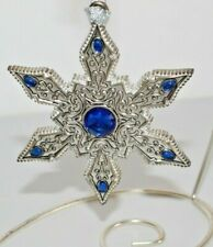 "Towle Silverplate 6 Sided Star Ornament w/ Blue Stone Accent 3 3/4"" Wide, Metal"