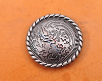 30mm 10X Nickle Flower Engraved Leathercraft Belt Wallet Decor CONCHO Screw Back