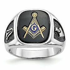 14k White Gold Mens Onyx Masonic Ring