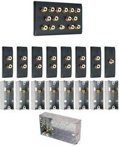 Matt Black 7.1 Surround Sound Audio AV Speaker Wall Face Plate Kit - NON SOLDER