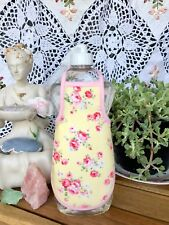 Pink Rose Yellow Shabby French Country Chic Soap Lotion Bottle Apron - fits 25oz