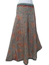 Beige Pattern Silk Palazzo Umbrella Trousers Boho Hippie Festival Elastic Back