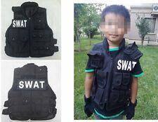 New Children & Kids Boys Girls SWAT Vest W/Patch Black Cosplay Outdoor Sports