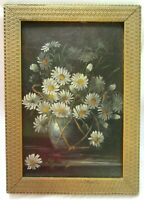 Big Antique Victorian Oil Painting Folk Art Still Life Floral Country Primitive