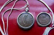 "IRELAND Harp &  Bird of Kells PENNY Bezel on a  30"" .925 Silver Snake Chain"