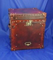 Vintage English Handmade Leather Occasional Side Table  Antique Trunk & Chests