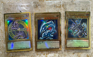 YuGiOh! Blue-Eyes White Dragon / Dark Magician / Red-Eyes B. Dragon - GOLD RARE!