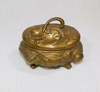 Antique Art Nouveau Casket Trinket Jewelry Box Gold Gilt Roses Flowers 1907