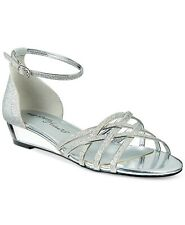 Easy Street Tarrah Strappy Low Wedge Sandals, Dance Flex, Silver, Size 7.5 W