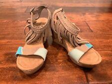 "Minnetonka ""Fringe Poppy"" Tan & Blue Leather Cork Wedge Sandals, Size 6"
