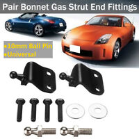 2x Universal Bonnet Boot Hood Gas Struts End Brackets Black Fitting 10mm Ball