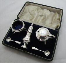 Good Antique George VI sterling silver cased cruet set, 171 grams, 1936