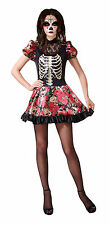 Halloween Ladies Skeleton Living Doll Costume Day of Dead Fancy Dress NEW 12-14
