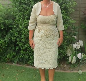 Mother of the bride/cocktail Champagne/beige lace Dress & Jacket Suit size 12/14