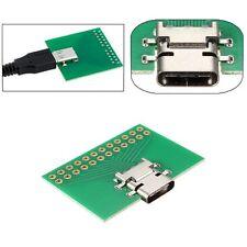 Mini DIY Type C Female Test Plug Socket USB 3.1 Connector SMT with PC Board