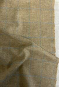 4 Metres Barley Oat & Blue Check 100% Wool Tweed Fabric. Made In England 465g