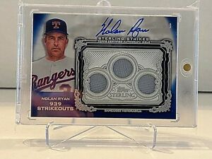 2020 TOPPS STERLING STRIKES NOLAN RYAN ON CARD AUTO JERSEY PATCH GAME USED 3/10